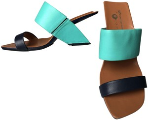 United Nude Geometric Modern Vacation Leather Turquoise / Navy Sandals