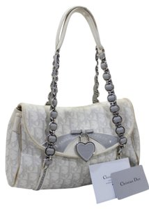 Dior Trotter Canvas Charm Vintage Satchel in White Gray