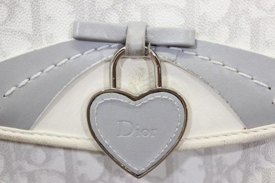 Dior Trotter Canvas Charm Vintage Floral Satchel in White Gray