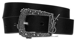 Saint Laurent Logo Textured-leather belt Size 75
