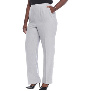 Alfred Dunner Monochrome Stretchy Elastic Lined Pockets Straight Pants Silver