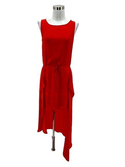 Item - Orange N106 Bcbg Max Azria Xxs Solid High- Low Maxi Sundress Long Cocktail Dress Size 00 (XXS)
