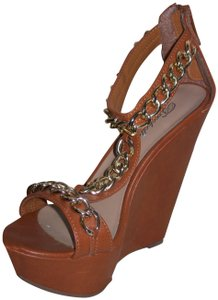 Breckelle's T-strap Chains 5-inch Heels New Brown & Gold Wedges