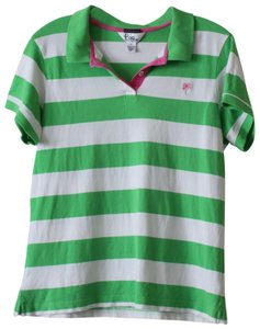 Lilly Pulitzer Polo Palm Beach Golf Henley T Shirt Green, White, Pink