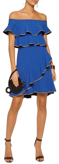 Item - Blue Ruffle Off The Shoulder Short Night Out Dress Size 2 (XS)