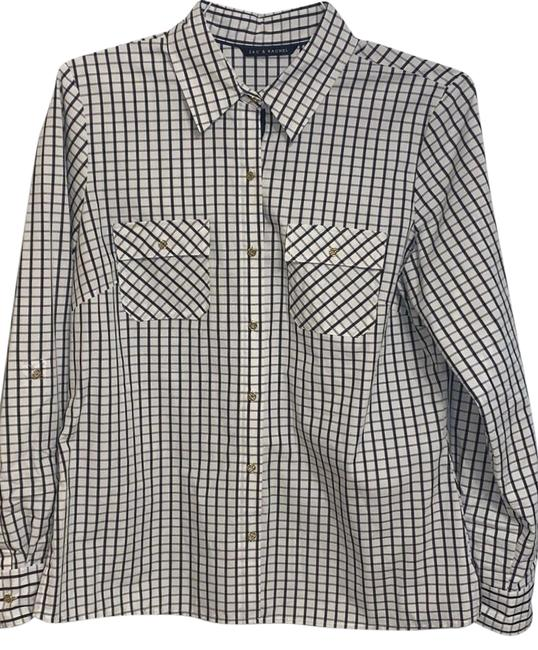 Item - White/Navy Long Sleeve Shirt Button-down Top Size 12 (L)