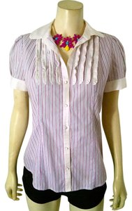 Banana Republic Size Small Pin Striped Collared Dress Shirt P1371 Button Down Shirt White, gray, pink