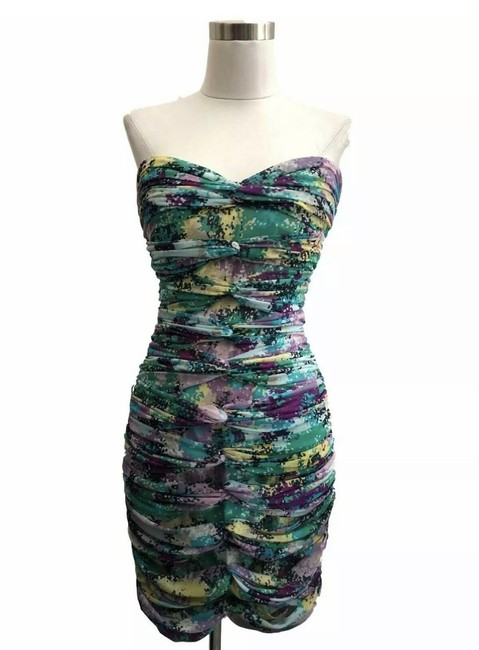Item - Green Purple N175 Bcbg Max Azria Designer Medium 10 Ruche Short Formal Dress Size 8 (M)