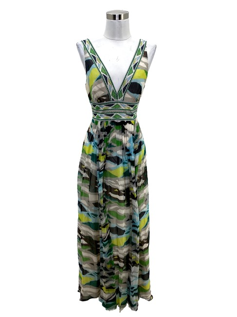 Item - Green N694 Bcbg Max Azria Small Camouflage Maxi V-neck Long Cocktail Dress Size 4 (S)