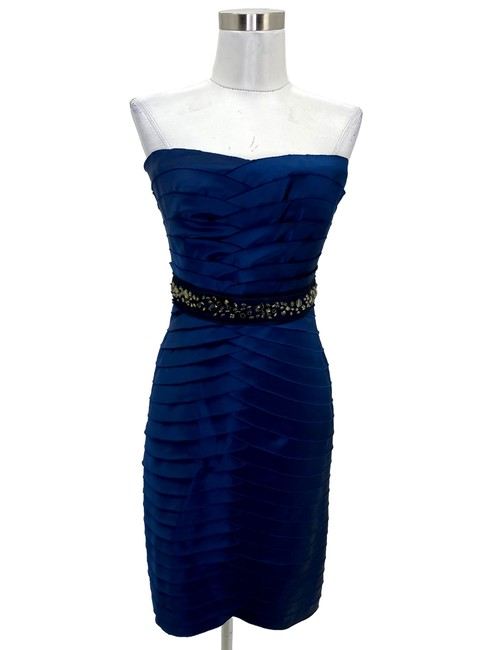 Item - Navy Blue N750 Bcbg Max Azria Designer Small Jewel Waist Short Formal Dress Size 4 (S)