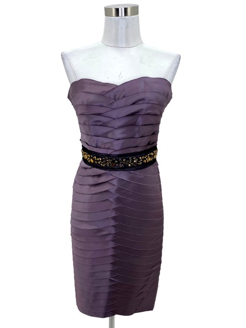 Item - Purple N470 Bcbg Max Azria Small Jewel Waist Strapless Short Formal Dress Size 6 (S)