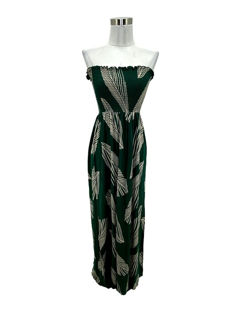 Item - Green XS N478 Bcbg Max Azria Small Strapless Leaf Maxi Long Cocktail Dress Size 0 (XS)