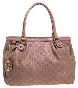 Gucci Leather Charm Canvas Tote in Pink