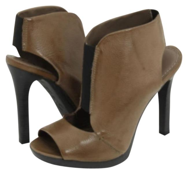 Item - Brown Mariah Open Peep Toe High Heels Slip On Leather Taupe Boots/Booties Size US 7.5 Regular (M, B)