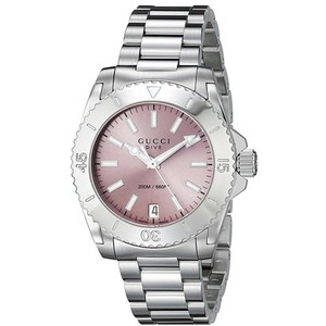 Gucci Stainless Steel Pink Dial Womens Dive YA136401