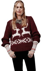 Free People Reindeer Holiday Knit Red Sweater
