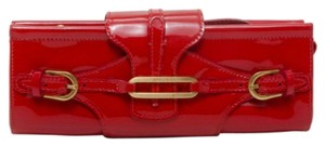 Jimmy Choo Patent Leather Suede Red Clutch