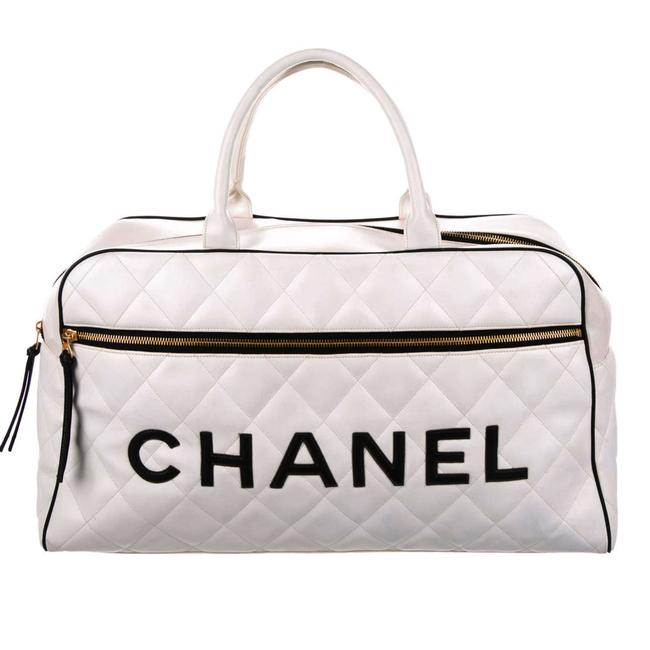 Item - Limited Edition Vintage Duffel Tote White and Black Leather Weekend/Travel Bag
