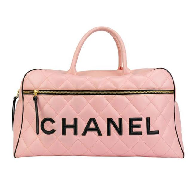 Item - Limited Edition Vintage Duffel Tote Pink and Black Leather Weekend/Travel Bag