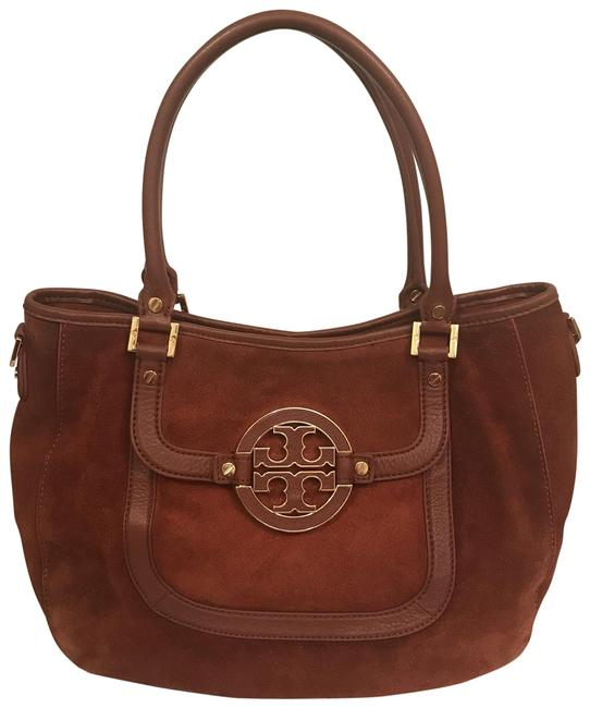 Item - Amanda Brown Orange Gold Suede Leather Satchel