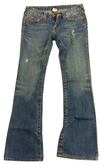 Preload https://item2.tradesy.com/images/true-religion-blue-distressed-low-waist-trendy-cut-never-worn-with-flare-leg-jeans-size-28-4-s-27076-0-0.jpg?width=400&height=650