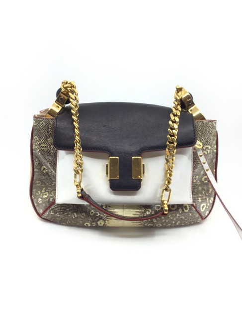 Item - Amelia Snakeskin/ Black/ Patchwork Satchel Black/ Ivory/ Nude/ Snakeskin Leather Shoulder Bag