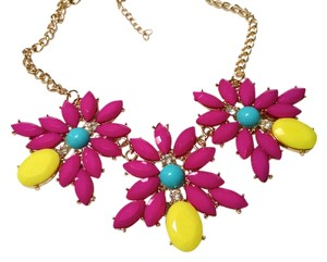 Other New Pink Yellow Blue Bib Necklace Gold Chain Summer Jewelry J850