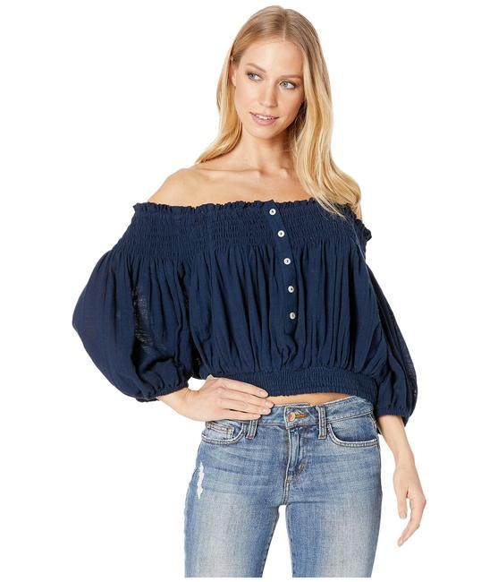 Free People A28 Dancing Till Dawn Off The Shoulder Crop Size S Navy Top Free People A28 Dancing Till Dawn Off The Shoulder Crop Size S Navy Top Image 1