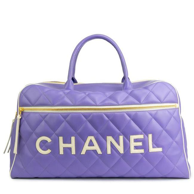 Item - Limited Edition Vintage Duffel Tote Purple and White Leather Weekend/Travel Bag