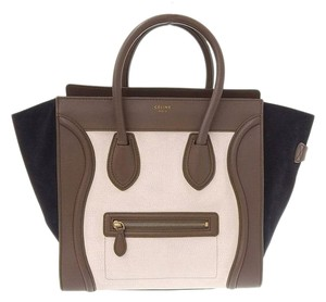 Celine Leather Tote in Khaki, Navy,cream