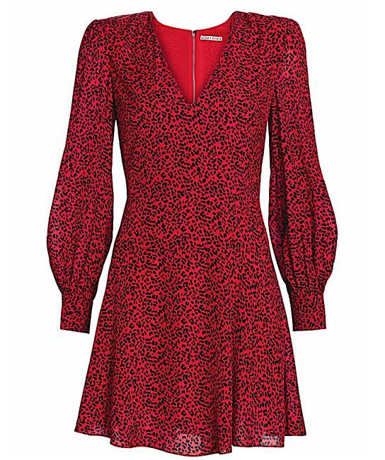 Item - Red with Tag Viscose. Polly Animal-print Strong-shoulder Short Night Out Dress Size 14 (L)