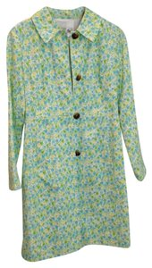 Lilly Pulitzer Floral Print Spring Ladylike Preppy Clairen Bliss Blue Tiptoe Trench Coat