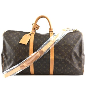 Louis Vuitton Monogram Bandouliere Keepall 55 brown Travel Bag