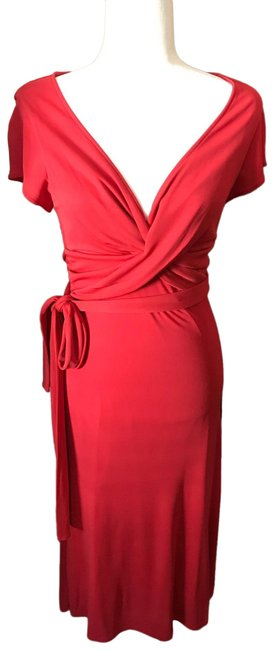 Item - Red / Coral Form Hugging Drapey Mid-length Cocktail Dress Size 4 (S)