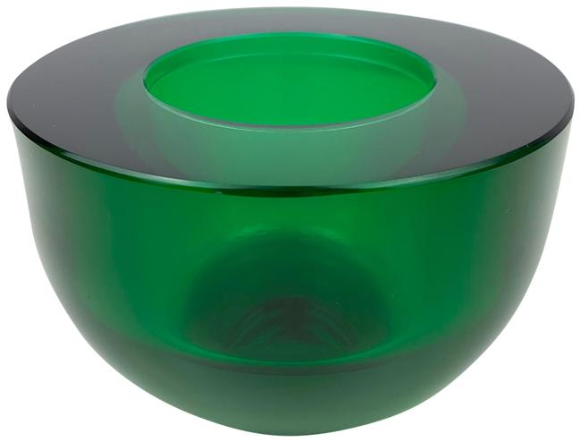 Item - Green Blown Glass Candle Holder