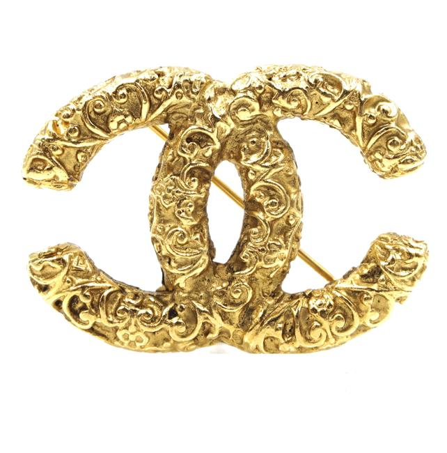Chanel #36442 Gold Ultra Rare Cc Textured Hardware Brooch Pin Charm Chanel #36442 Gold Ultra Rare Cc Textured Hardware Brooch Pin Charm Image 1
