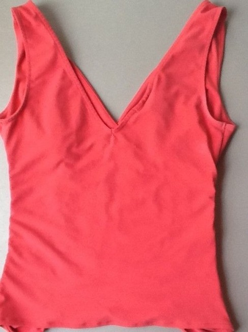 Express Ruched Sleeveless Vneck Top Salmon Pink