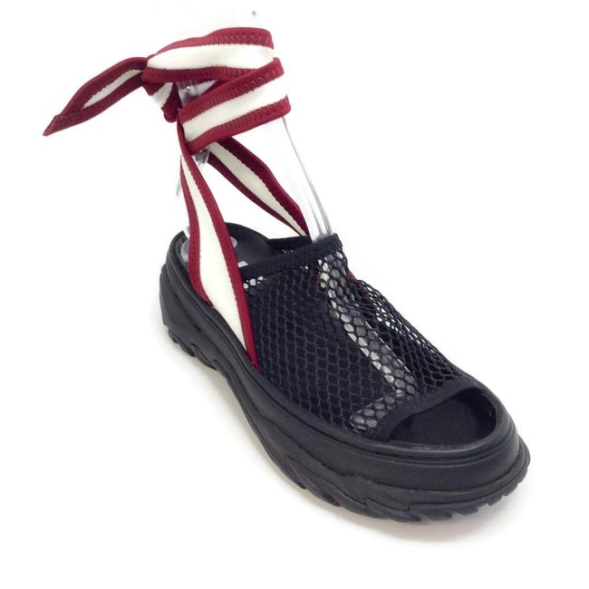 Item - Black / Dark Red Ankle Wrap Tie Sandals Size EU 38 (Approx. US 8) Regular (M, B)