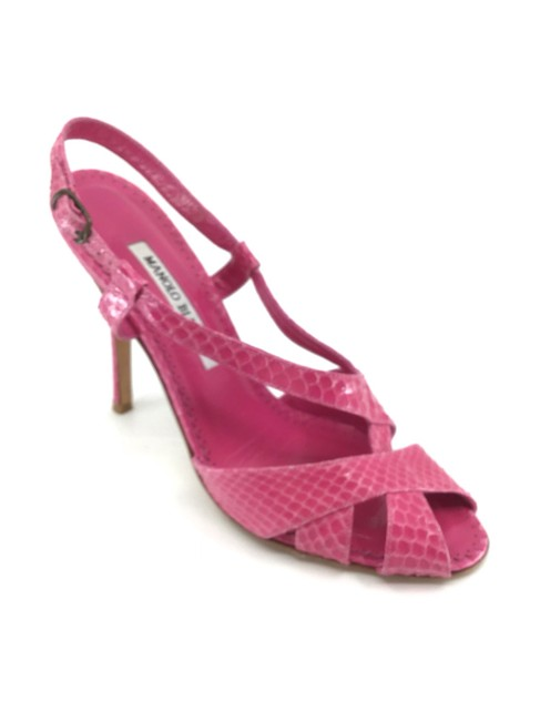 Item - Pink Snakeskin Sling Back Pumps Sandals Size US 8 Regular (M, B)