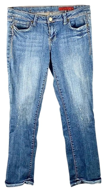 Item - Blue Distressed Worn/Distressed Stretchy Low-rise Boot Cut Jeans Size 10 (M, 31)