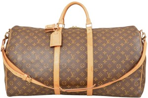 Louis Vuitton Duffle Gym Keepall Suitcase Shoulder Strap Brown Travel Bag