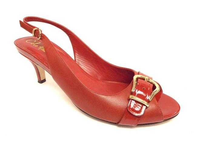 Item - Red Nike Air Leather Open Toe Buckle Sling Heel Pumps Size US 9 Regular (M, B)