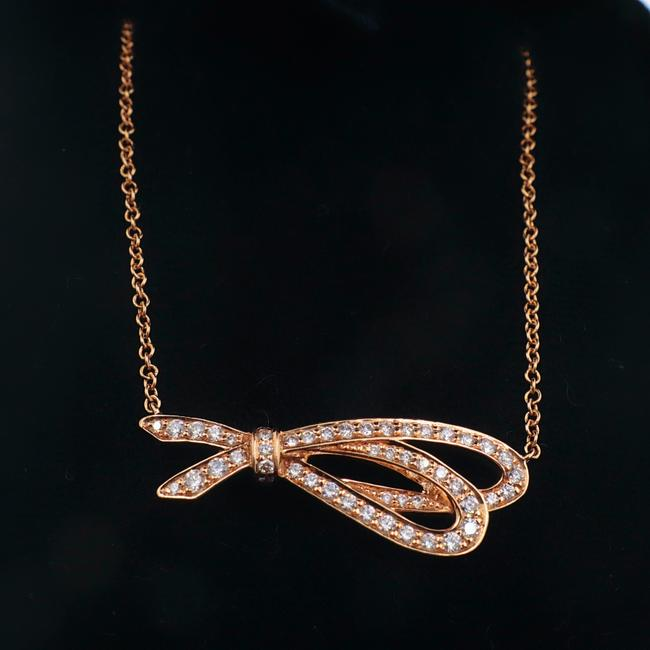 Item - Rose Gold Diamond Bow Pendant 8kt Necklace
