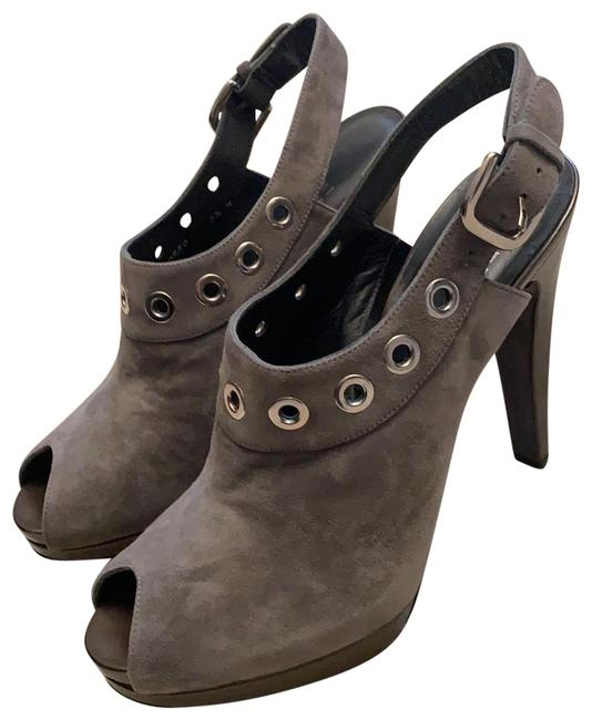 Item - Gray Suede Platform Peep Toe Sling Back Pumps Size US 8.5 Regular (M, B)