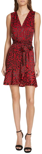 Alice + Olivia Red with Tag Viscose/Silk Brooks Leopard-print Fit-flare Short Cocktail Dress Size 4 (S) Alice + Olivia Red with Tag Viscose/Silk Brooks Leopard-print Fit-flare Short Cocktail Dress Size 4 (S) Image 1