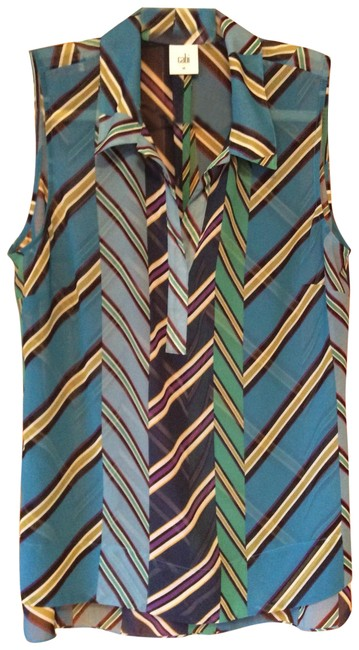 Item - Tones Of Turquoise Green Purple and Sage 3780 Blouse Size 10 (M)