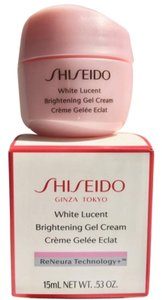 shiseido Brand NEW in box Shiseido face lotion 0.53 oz - white lucent brightening face gel cream. It comes in it's a cute little pink box. The size is perfect for traveling, keep in gym bag or small enough to fit in a phrase! TSA safe!