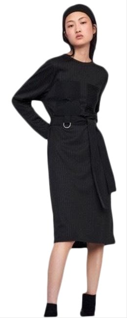 Item - Black Loose Striped Pockets Mid-length Night Out Dress Size 4 (S)