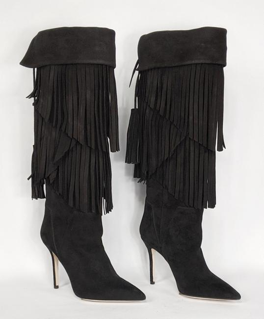Item - Black Suede Fold-over Tassel Tie Fringed Boots/Booties Size EU 36 (Approx. US 6) Regular (M, B)