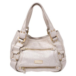 Jimmy Choo Leather Suede Satchel in Gold